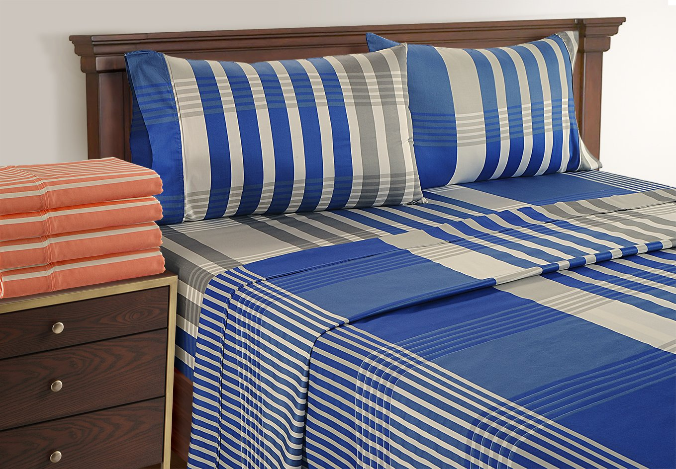 Linenwalas King Bed Sheets 100% Cotton - 300 Thread Count Bedding For Teens | Silky Soft Pattern Printed Sheets( Multi Stripes Navy Blue Gray, King)