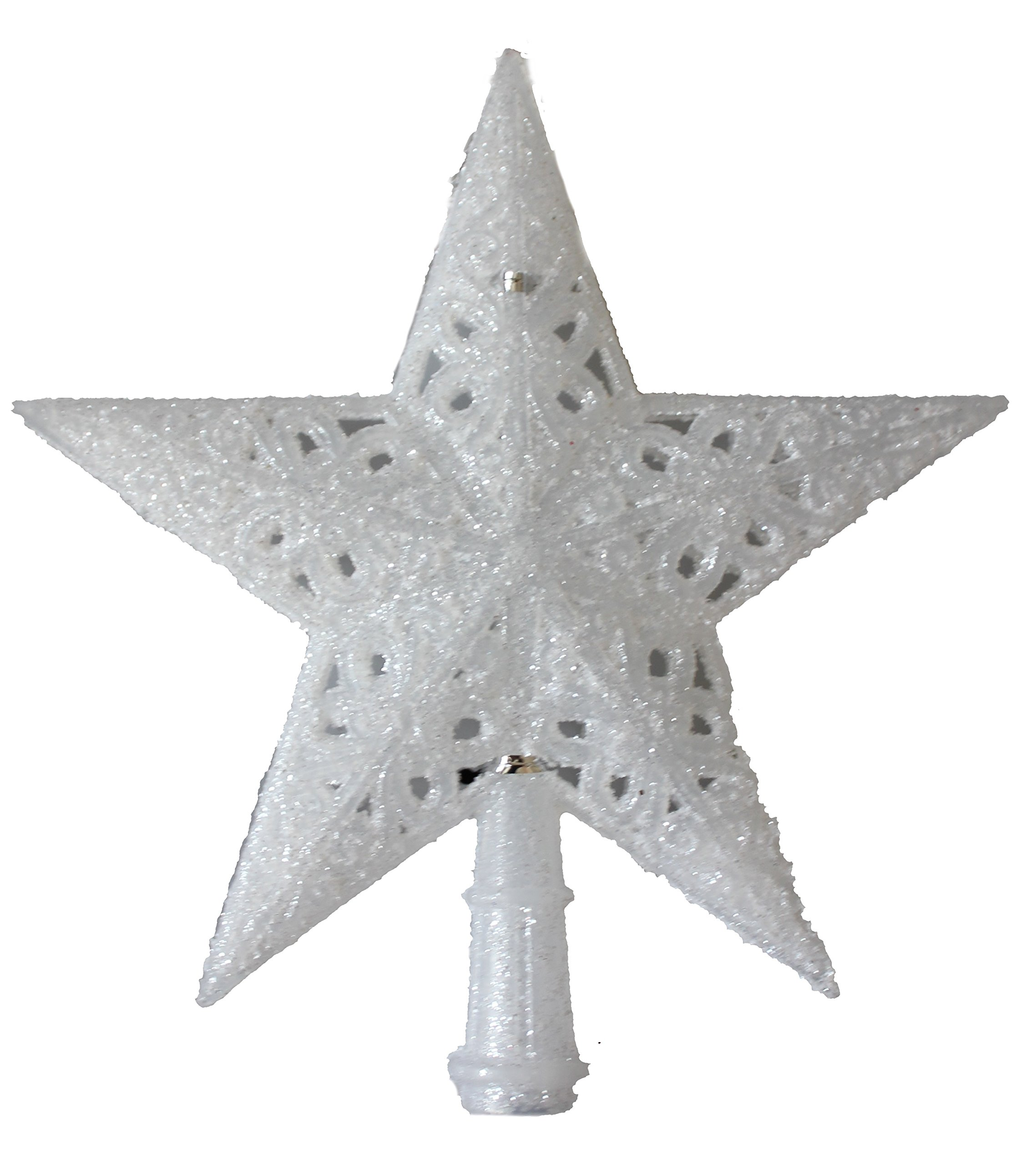 8.3'' H Glittered Finish Star Tree Topper Christmas Tree Decoration White Frosted