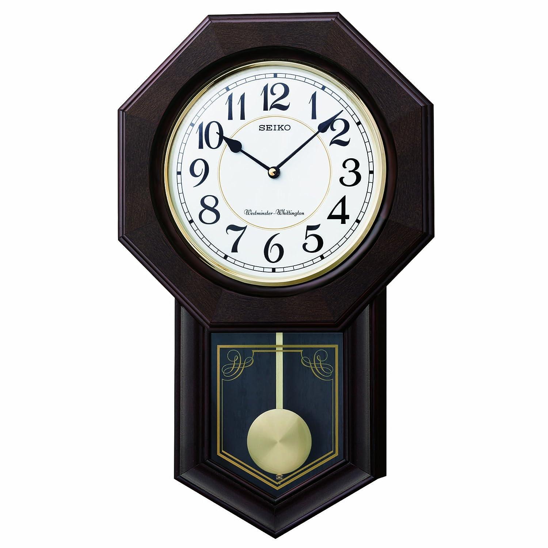 セイコー クロック 掛け時計 アナログ 報時選択式 チャイム&ストライク 飾り振り子 八角尾長 木枠 濃茶 木地 RQ325B SEIKO B009YE3P1O