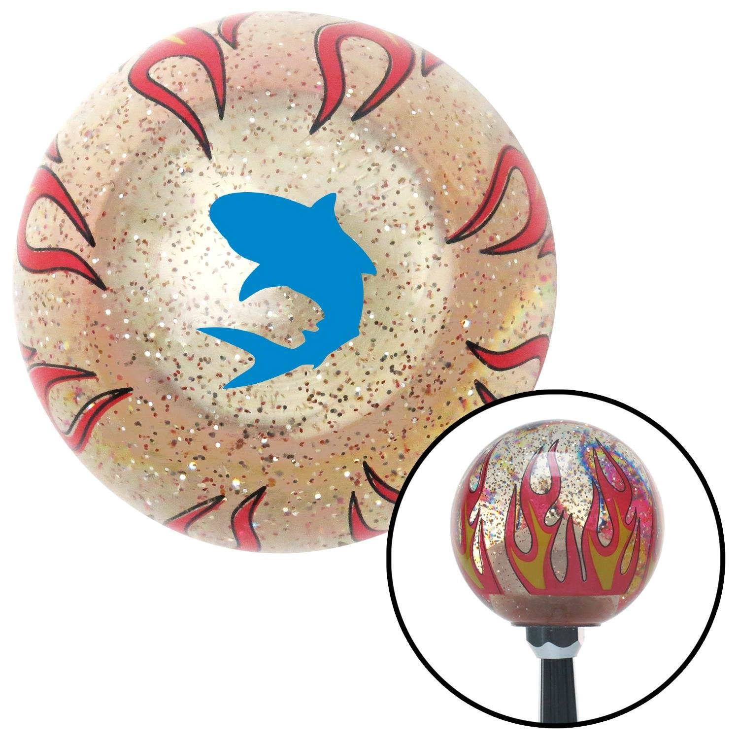 American Shifter 295204 Shift Knob Blue Shark Clear Flame Metal Flake with M16 x 1.5 Insert