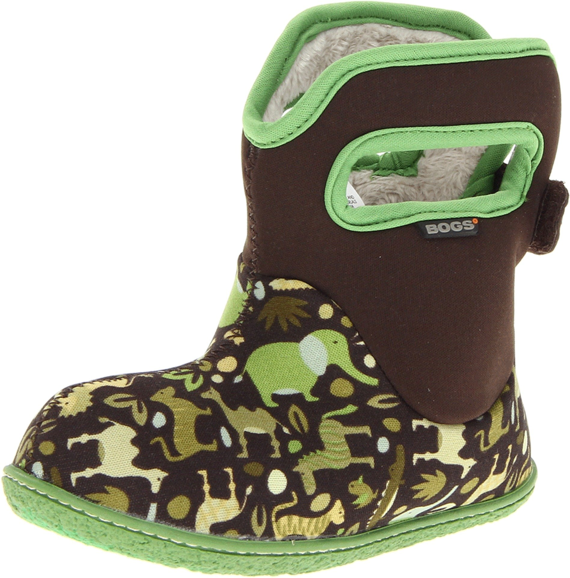 Bogs Baby Waterproof Insulated Toddler/Kids Rain Boots for Boys and Girls, Zoo Print/Green/Multi, 8 M US Toddler