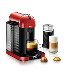 Nespresso Vertuo Coffee and Espresso Machine Bundle with Aeroccino Milk Frother by Breville, Red