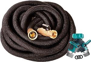 Riemex Expandable Garden Hose Black 50 FT [New 2020] Heavy Duty Water Hose - Triple Latex - Expanding Solid Brass Metal Fittings Connectors, Flexible Strongest 50FT, Black, Metal Garden Hose Splitter