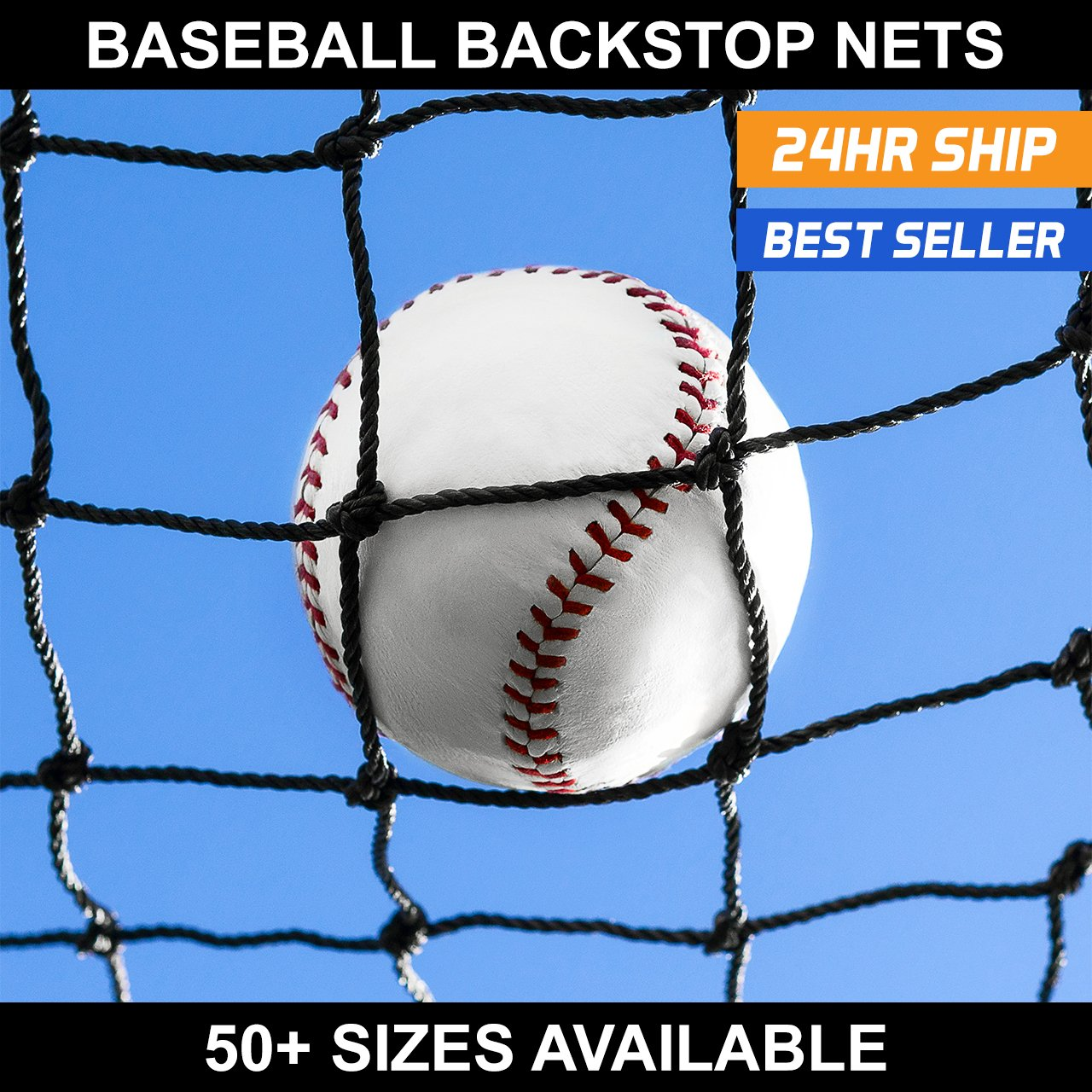 Net World Sports Baseball Backstop Nets - 50 (20. 12' x 72') by Net World Sports