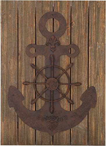 Deco De Ville Contemporary Modern Design Nautical Style Wheel and Anchor Aqua Theme Metal Wall Sculpture Marine Decor