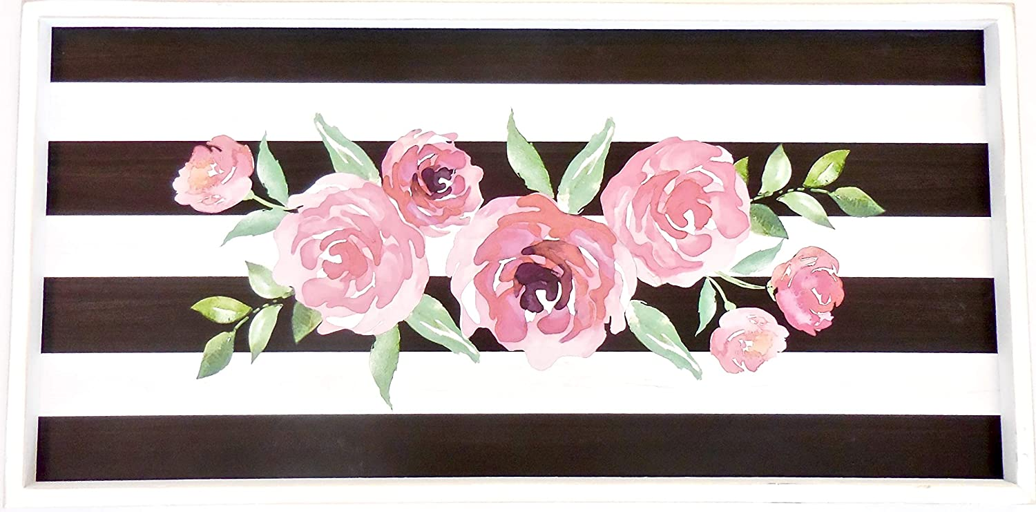 Amazon com hobby lobby home decor paris style striped roses picture wood wide black white stripes pink roses 29 8 l x 14 8 w