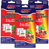 PIC Natural Mint Mouse Repellent (3-Pack), Effective Rodent Control Solution, Non-Toxic Mouse Deterrent, Mint Scented Mice Repellent, 180 Day Supply of Rodent Repellent for Cars & Homes, Rat Repellent
