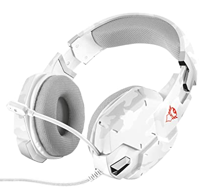 Trust Gaming GXT 322W - Auriculares Gaming Stereo para PC, Color Blanco Camuflaje