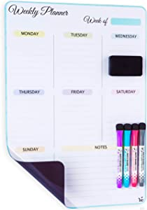 Magnetic Dry Erase Vertical Weekly Calendar for Fridge with New Premium Stain Resistant Technology - Whiteboard Organizer Planner - Dry Erase White Board Calendar - Refrigerator Magnets