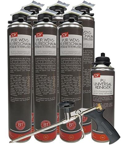 WDVS Perimeter adhesivo B1 Pistola Espuma adhesivas 6 x 800 ml Espuma de poliuretano – Limpiador