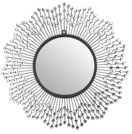 LuLu Décor, Celebration Metal Wall Mirror, Frame 24u201d, Round Decorative  Mirror For