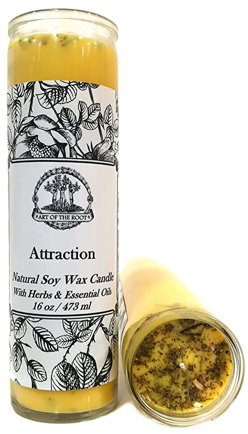 Art of the Root Attraction Scented 7 Day SOY Herbal Spell Candle (Fixed)  for Love, Money, Prosperity, Manifestation & Success (Wiccan, Pagan,  Hoodoo,