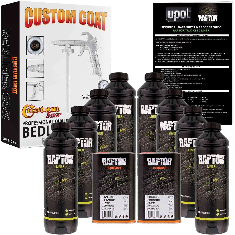 U-POL Raptor Black Urethane Spray-On Truck Bed Liner Kit w/FREE Custom Coat Spray Gun with Regulator, 8 Liters