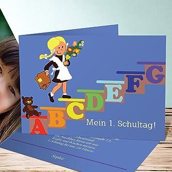 Einladungskarten Einschulung Basteln Schulmädchen 150 Karten Horizontale Klappkarte 148x105 Inkl Weiße Umschläge Blau