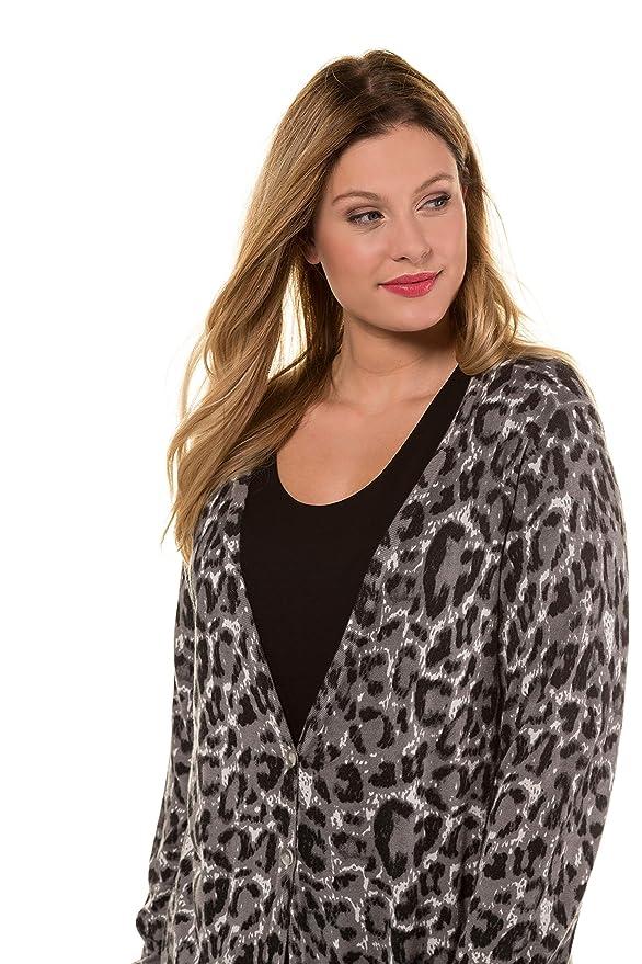 Imprimé Animal Tailles Ulla Popken V Femme Col Et Long Grandes Gilet 35qAL4Rj