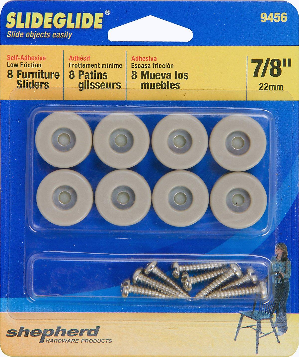 Shepherd Hardware 9242 1-3/8-Inch Square Adhesvie Slide Glide Furniture Sliders, 4-Pack
