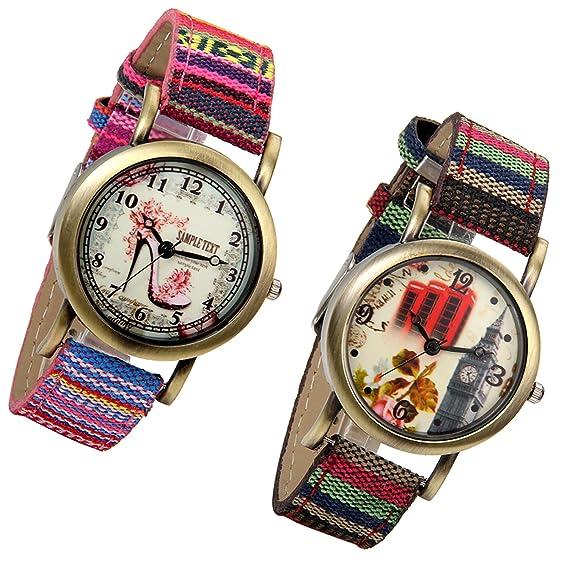 lancardo Reloj de pulsera niña con correa de piel esfera Digital ultrafina fondo de zapatillas con tacón alto y Big Ben: Amazon.es: Relojes