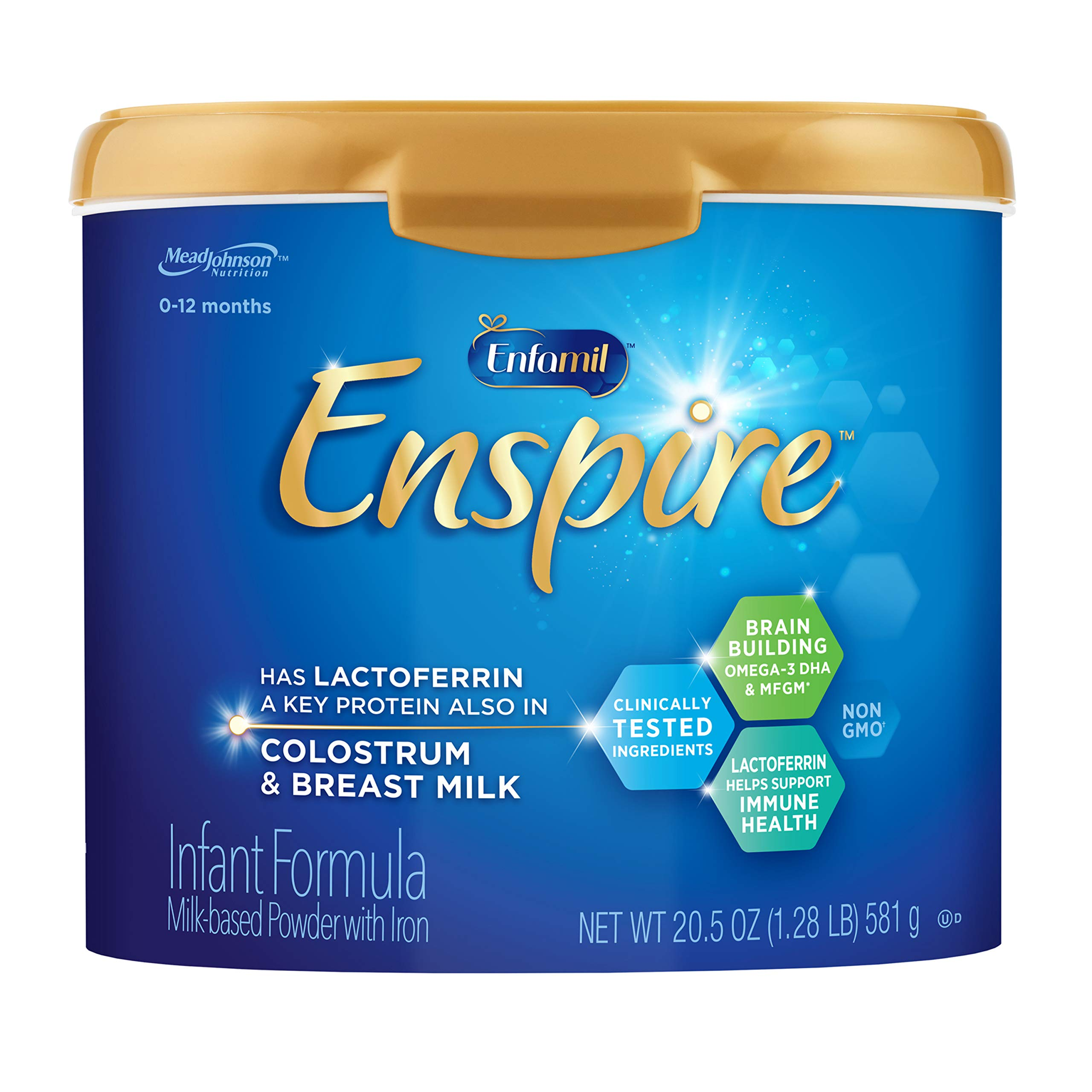 Enfamil Enspire Infant Formula with Immune-Supporting Lactoferrin, Brain Building DHA, 5 Nutrient Benefits in 1 Formula, Our Closest Formula to Breast Milk, Non-GMO, Reusable Tub, 20.5 Oz