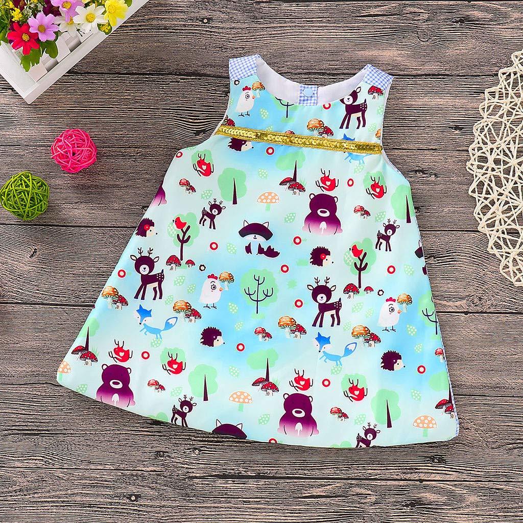 Dinlong Toddler Infant Baby Girls Summer Stylish Cartoon Lovely Animals Plaid Printed Sleeveless Casual Princess Dress