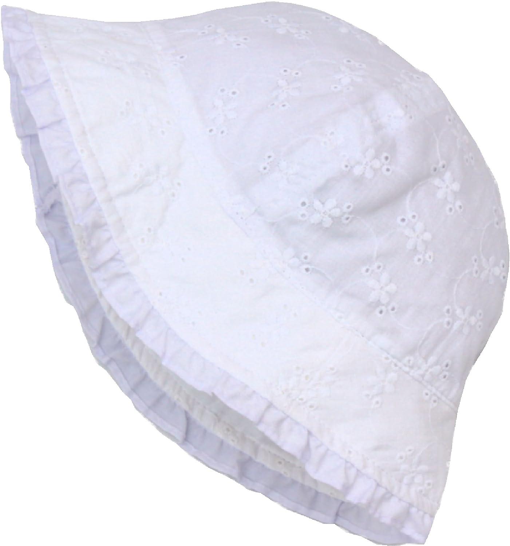 Amazon.com  Baby Girl White Eyelet Cotton Sun Hat (Toddler 41fd561e8ec