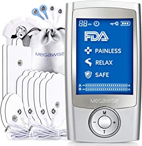 MegaWise 48 Modes(24 * 2)with 10 Premium Pads EMS TENS Unit, Muscle Stimulator for Back Pain Relief Therapy,Dual Chanel for Home use, Gift for Mum and dad