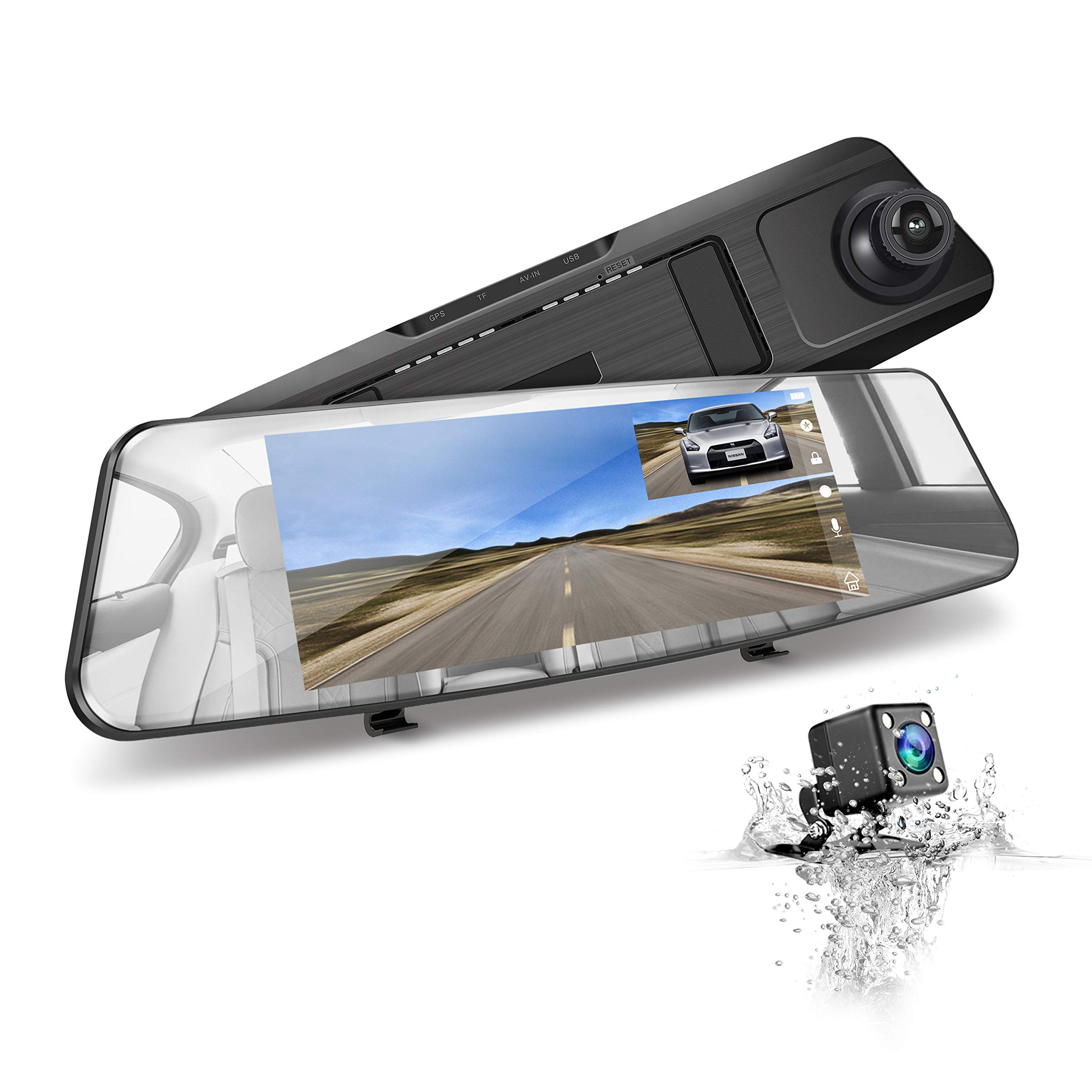 Mirror Reverse Backup Camera JEEMAK Dash Cam for Cars 7 inch Dual Lens Touch Screen 1080P Front and Rear View Vehicle Recorder