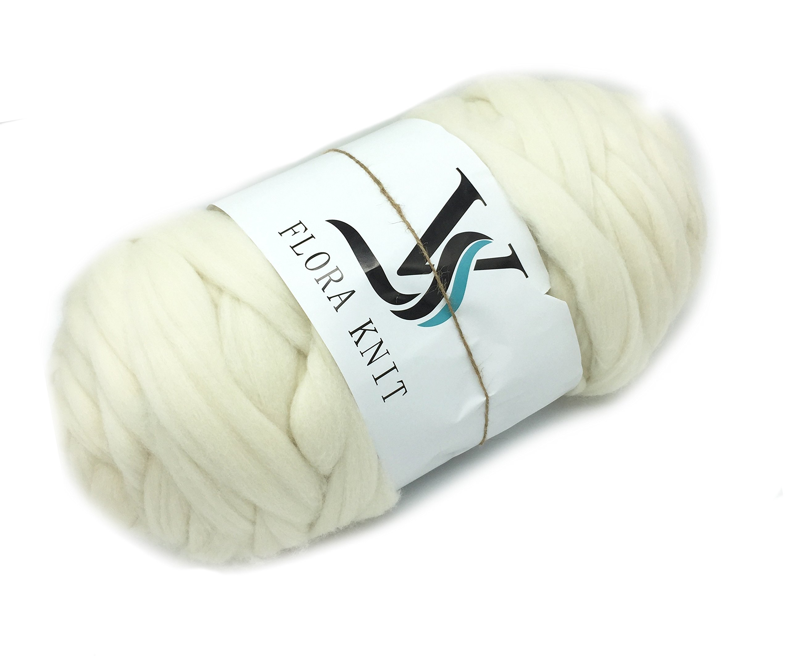 Merino Super Chunky Yarn Wool Roving for Arm Knitting (4.4LB(2KG)-50mm, CREAM)