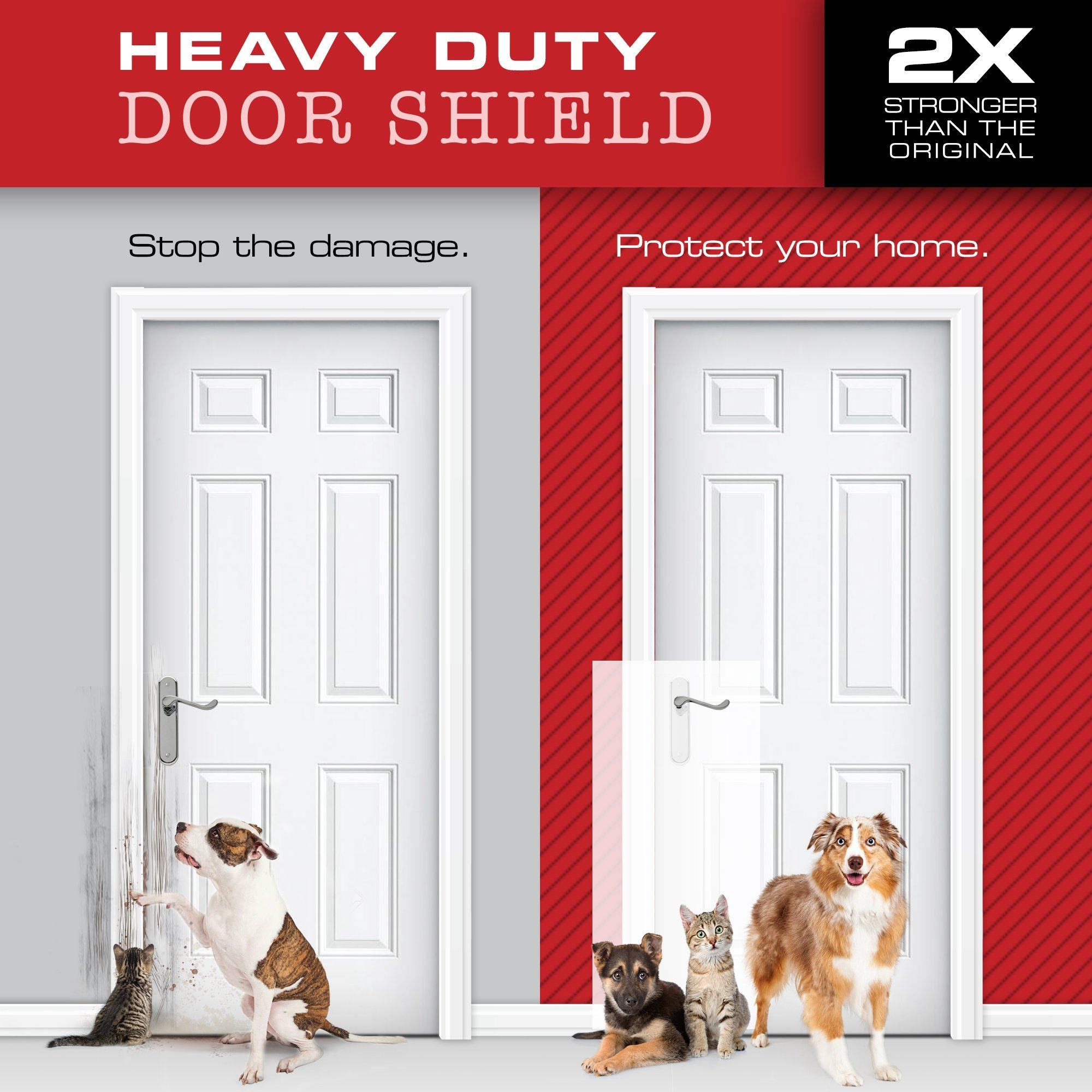 Heavy Duty CLAWGUARD - Big Dog Scratch Shield - Ultimate Door, Frame and Wall Protection