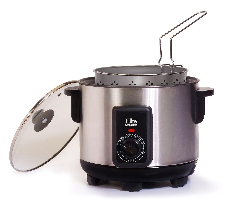 MaxiMatic EDF-1300MElite Cuisine Deep Fryer/Multi Cooker, 5-Quart, Silver