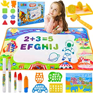 Shindel Aqua Magic Mat, 40 X 28Inches Kids Painting Writing Doodle Board Toy Large Water Drawing Doodling Mat Coloring Mat Educational Toys, for Kids Toddlers Boys Girls