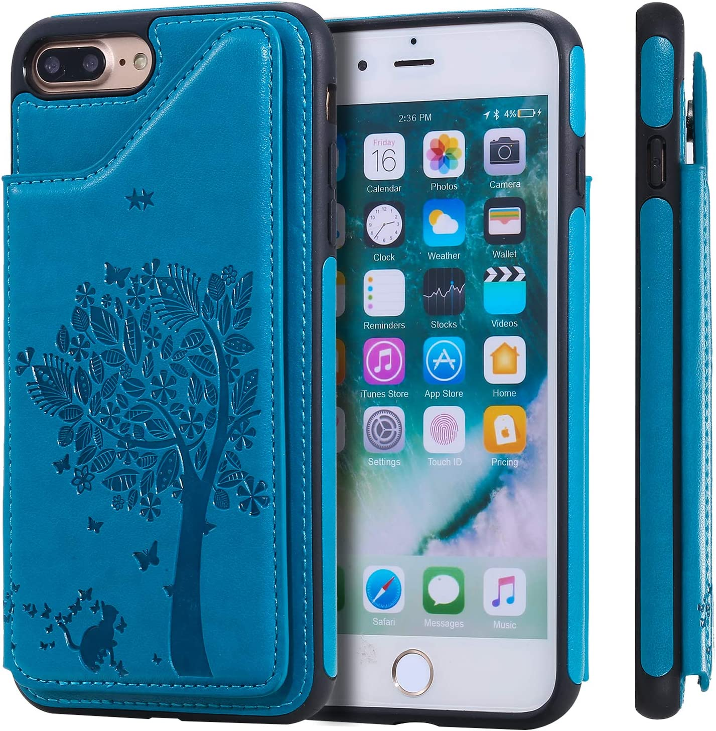 NEKTU120026 Blue 7 Plus 8Plus NEXCURIO Leather Silicone Case for iPhone 8 Plus Shockproof Anti-Scratch Shock Absorption Protective Cover Case for Apple iPhone 7Plus