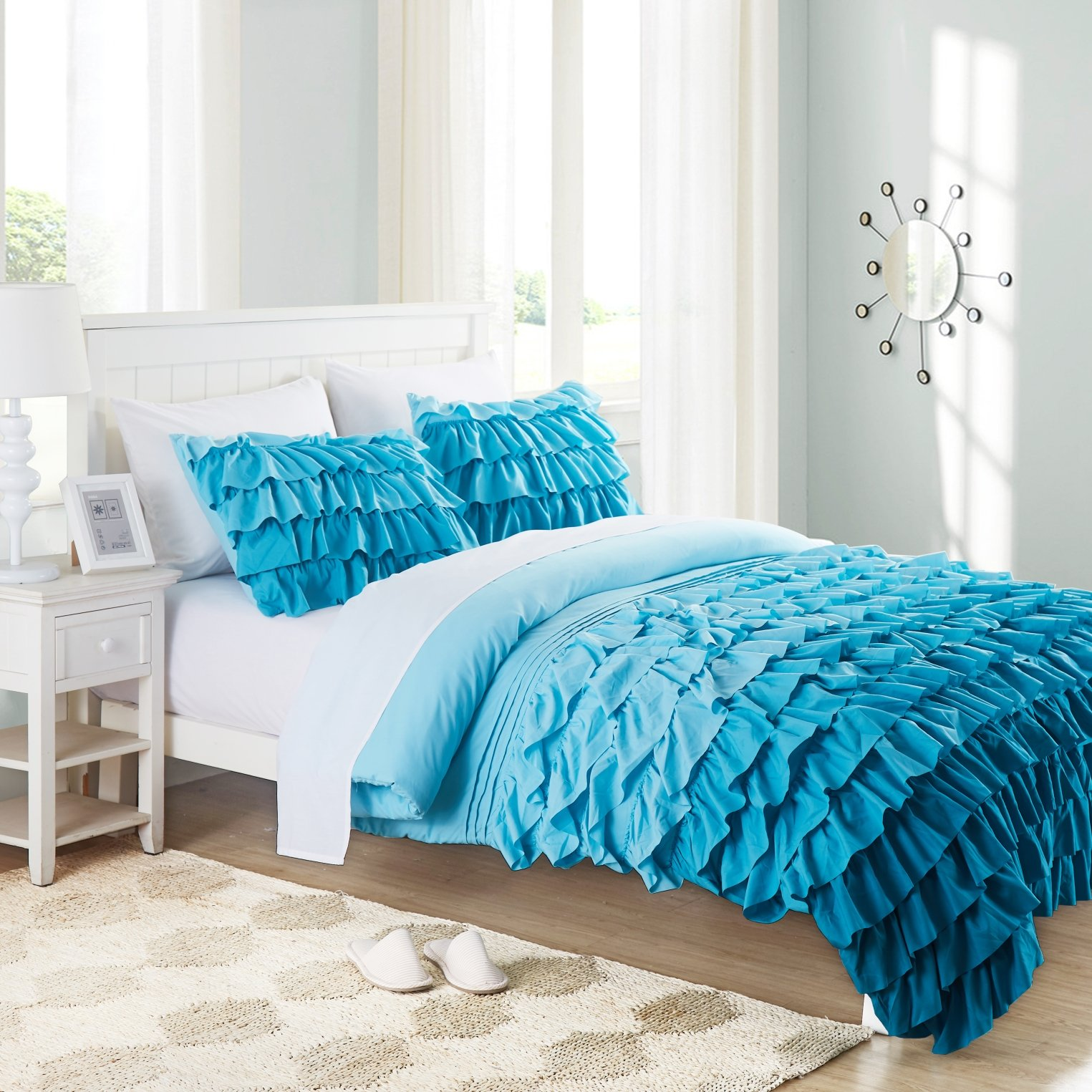 Cassiel Home Gorgeous 3 Pieces Waterfall Flowing Ruffle Comforter Set Girl's Bedding Set Gifts for Kids Teen (Queen, Teal)