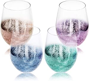 MyGift 17 oz Crystal Clear Stardust Galaxy Pattern Multi-Colored Stemless Wine Glasses/Juice Drinking Tumblers, Set of 4