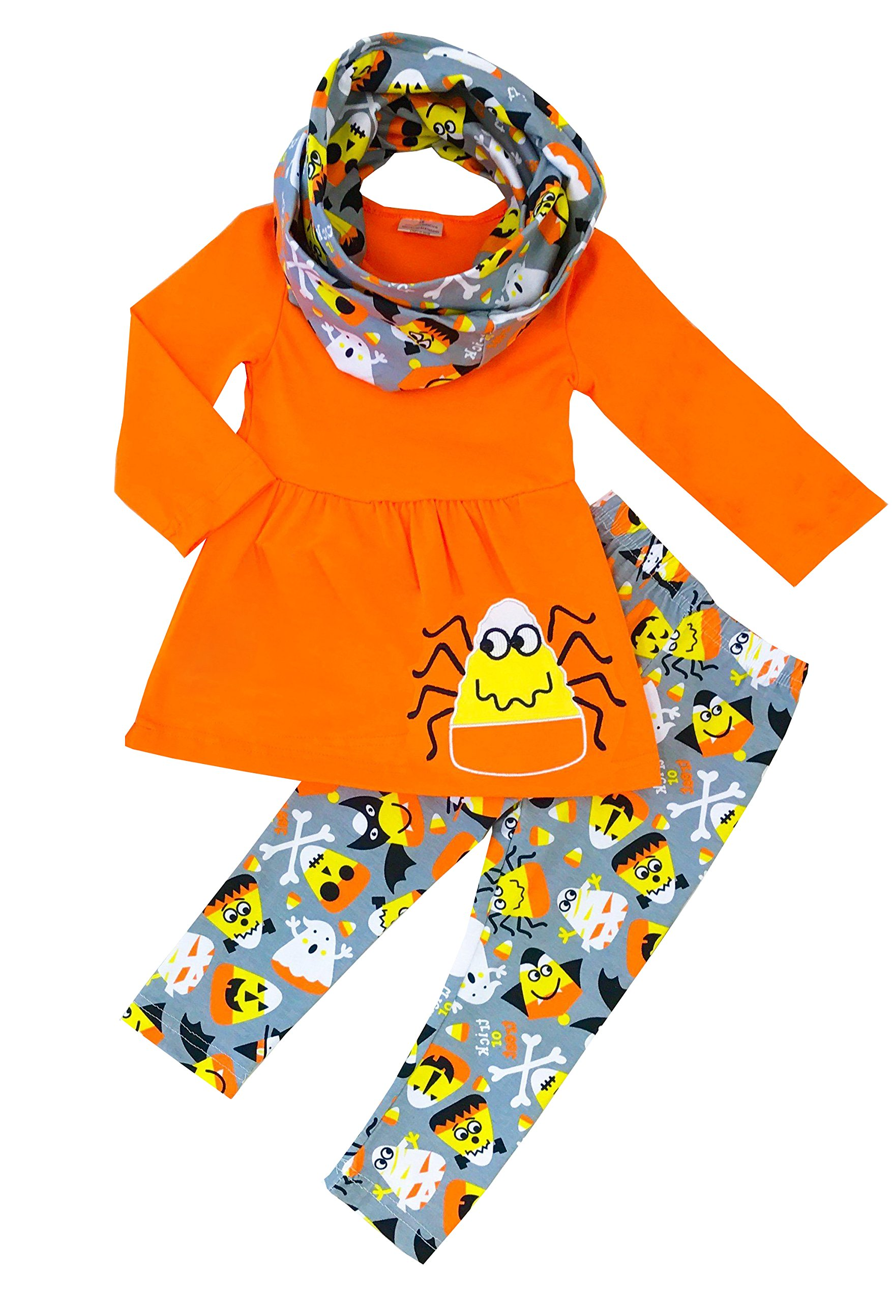 Angeline Girls Halloween Spider Ghost Orange Dress Leggings Scarf Set 6T/XL