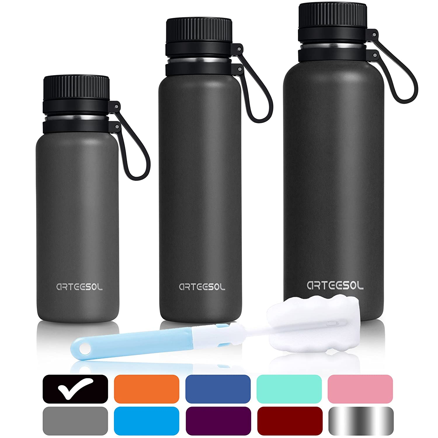 Arteesol Water Bottle 500/750/1000 Ml (17/25/34 Oz) Bpa Free Vacuum Insulated 18/8 Stainless Steel Leak Proof Double Walled Wide Mouth Thermos For Sports Gym Workout, Cold Or Hot For 12h [9 Colours] by Amazon