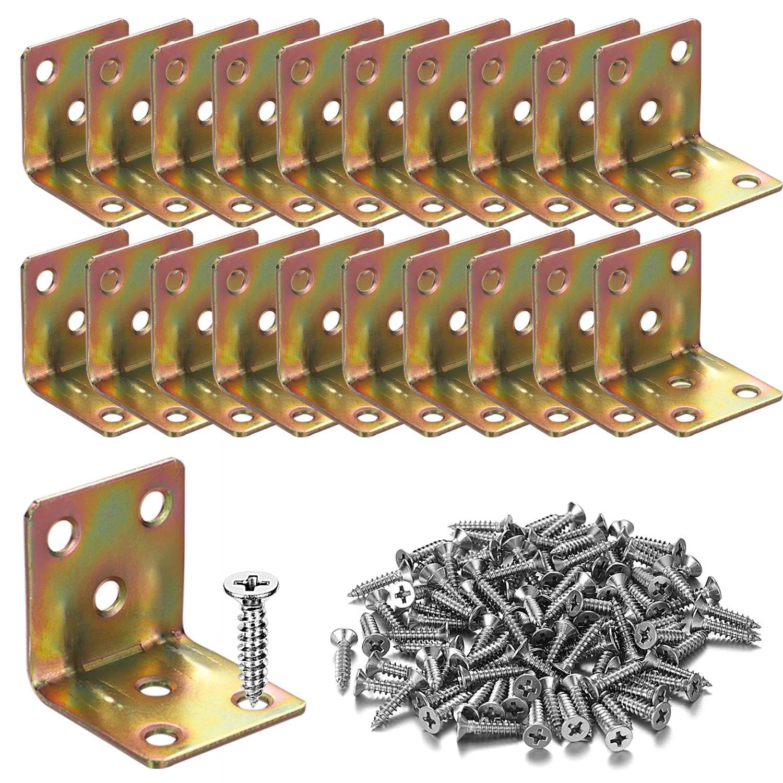 20PCS Corner Braces -30x30x30mm,Heavy Duty Corner Steel Joint Right Angle L Bracket for Shelves Furniture Wood Wall Hanging Fastener,Reinforce Bracket,Package Include Wood Screws