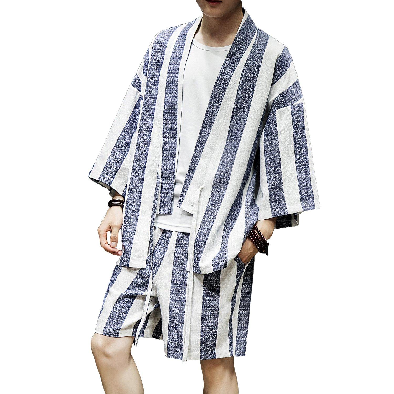 INVACHI Herren Japan Kimono Mantel Happi Baumwolle Leinen