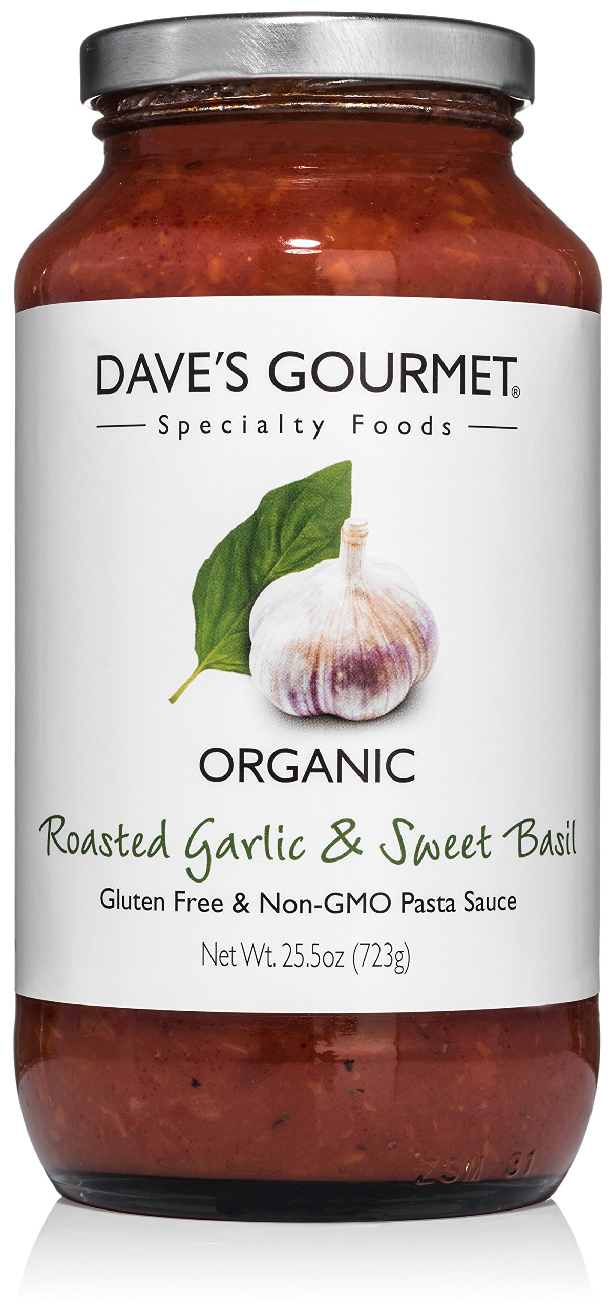 Dave's Gourmet Organic Roasted Garlic and Sweet Basil Pasta Sauce, Pack of 3