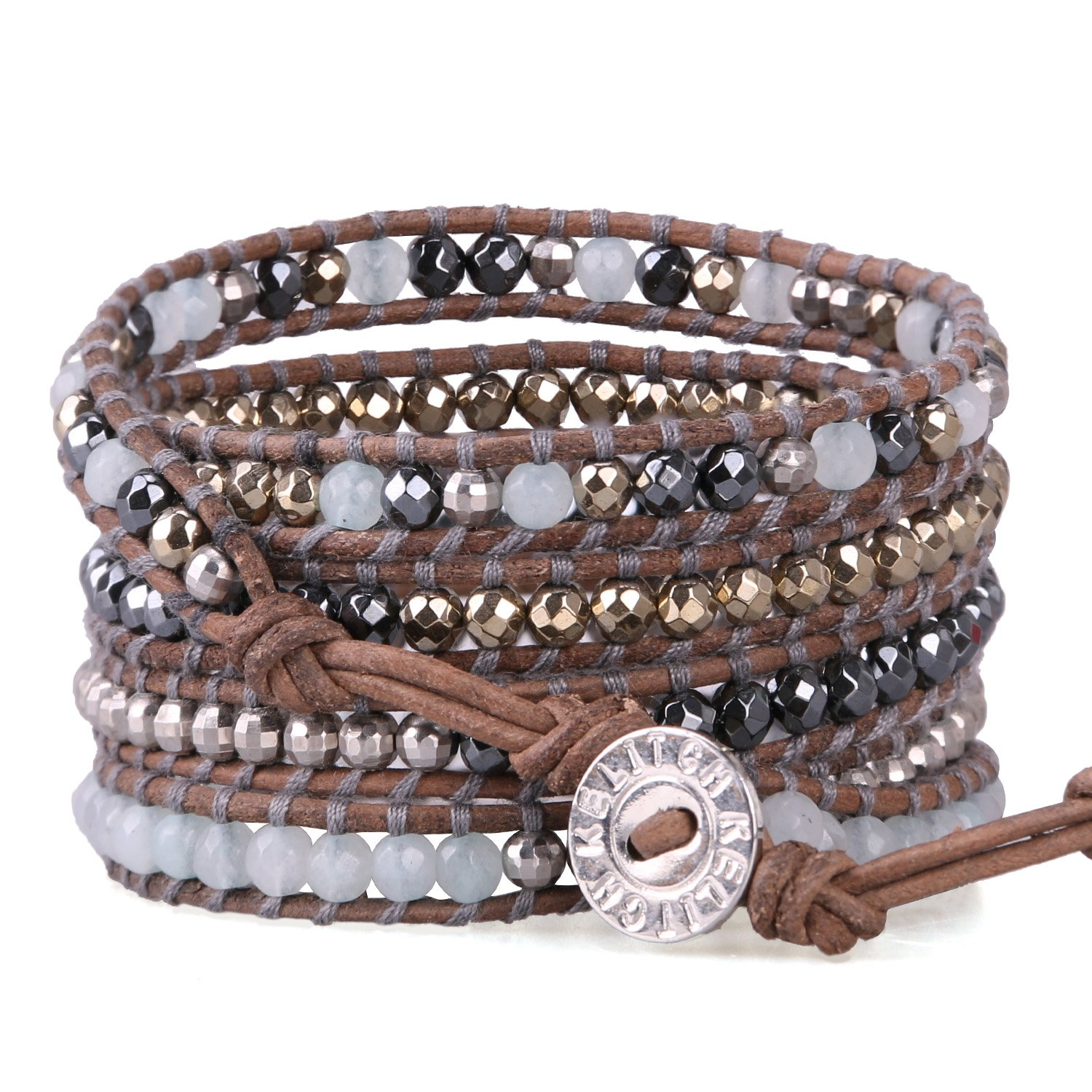KELITCH Mix Beaded Bracelet on Leather Charming 5 Wrap Bracelet Handmade New Top Jewelry (Grey Brown)