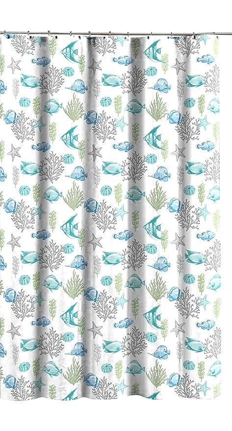 Amazon Deep Sea Fabric Shower Curtain Ocean Life Fish Theme