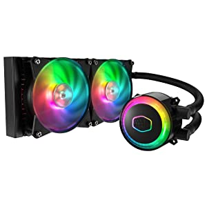 Cooler Master MasterLiquid ML240R Addressable RGB Close-Loop AIO CPU Liquid Cooler, 240 Radiator, Dual Chamber Pump, Dual MF120R Fans, Independently-Controlled ARGB LEDs for AMD Ryzen/Intel 1151