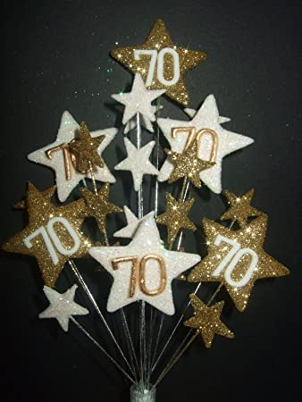 STAR AGE 70TH BIRTHDAY CAKE TOPPER IN GOLD AND WHITE Amazoncouk