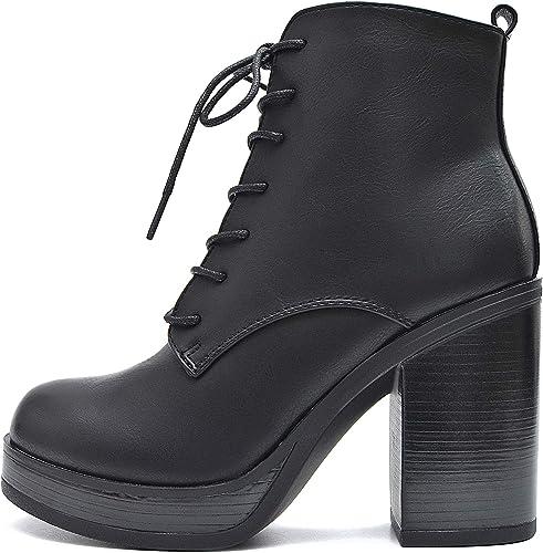 Vain Secrets Plateau Stiefeletten Damen Schnür Ankle Boots
