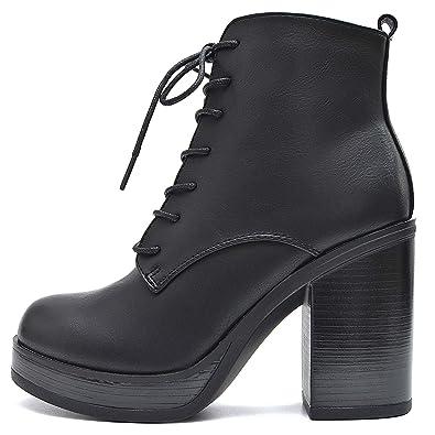 85e99f0d3db3e7 Vain Secrets Plateau Stiefeletten Damen Schnür Ankle Boots Schwarz (36 EU)