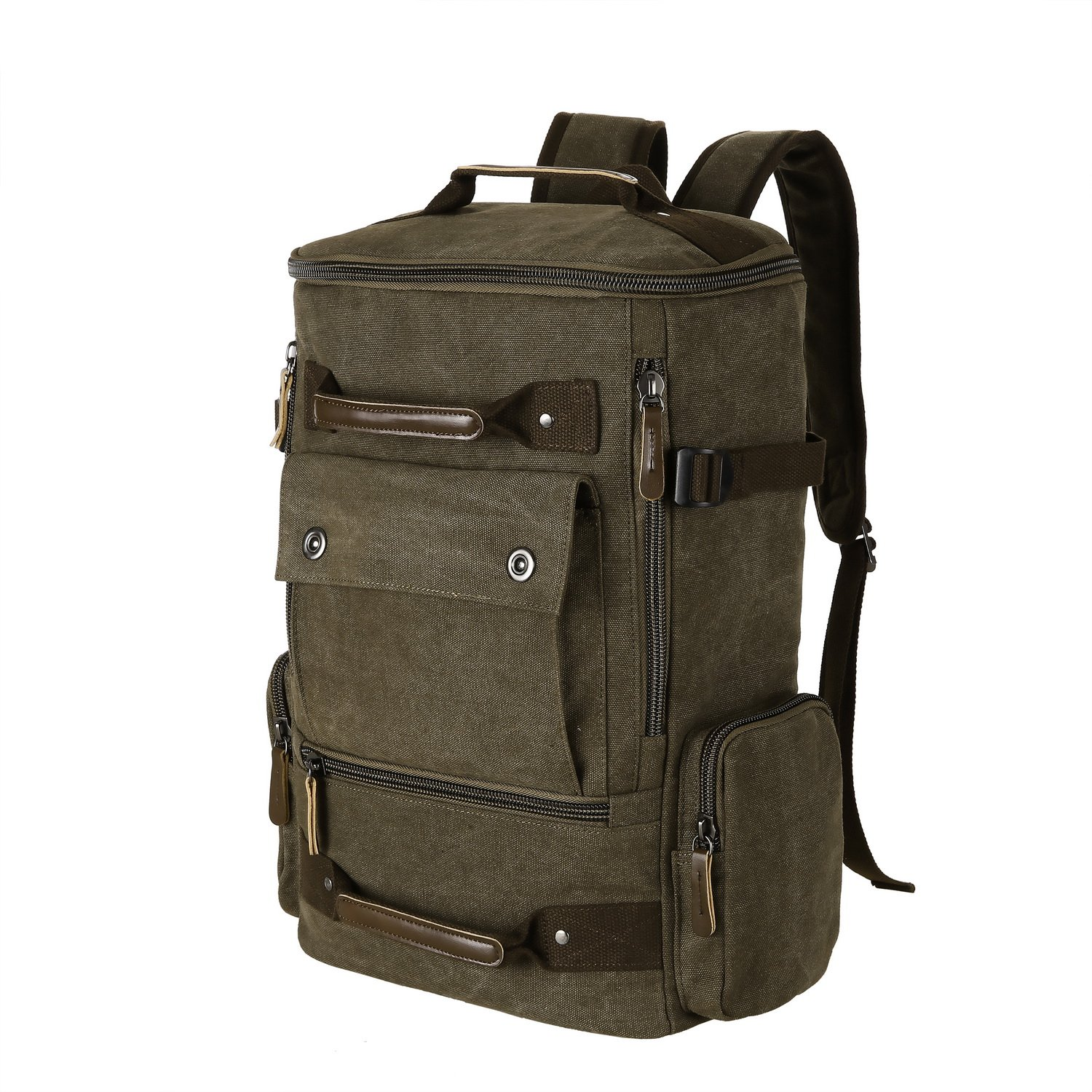 ANCHEER Unisex Canvas Travel Backpack, Large Capacity Vintage School Hiking Camping Bag Fits 17'' Laptop, 30 L