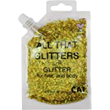CAI BEAUTY NYC Gold Glitter | Easy to Apply, Easy to Remove Chunky Glitter for Body, Face and Hair | Bag Pouch | Holographic
