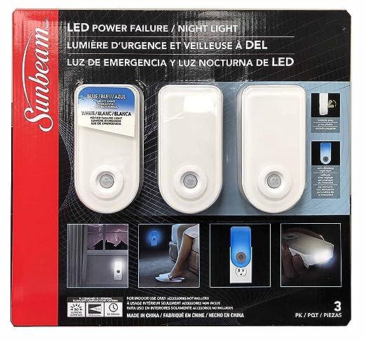 Sunbeam Color Changing Led Power Failure Night Light 3 Pk (White) - - Amazon.com
