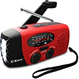 [2018 Upgraded] Esky Portable Emergency Weather Radio Hand Crank Self Powered AM/FM/NOAA Solar Radios with 3 LED Flashlight 1000mAh Power Bank Phone Charger (Red)