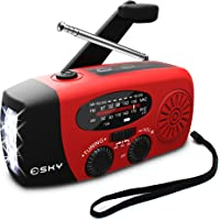 [Upgraded] Esky Weather Radio,Hand Crank Self Powered Solar FM/AM/NOAA Emergency Radios,with 3 LED Flashlight/1000mAh Power Bank/USB Phone Charger (Red)