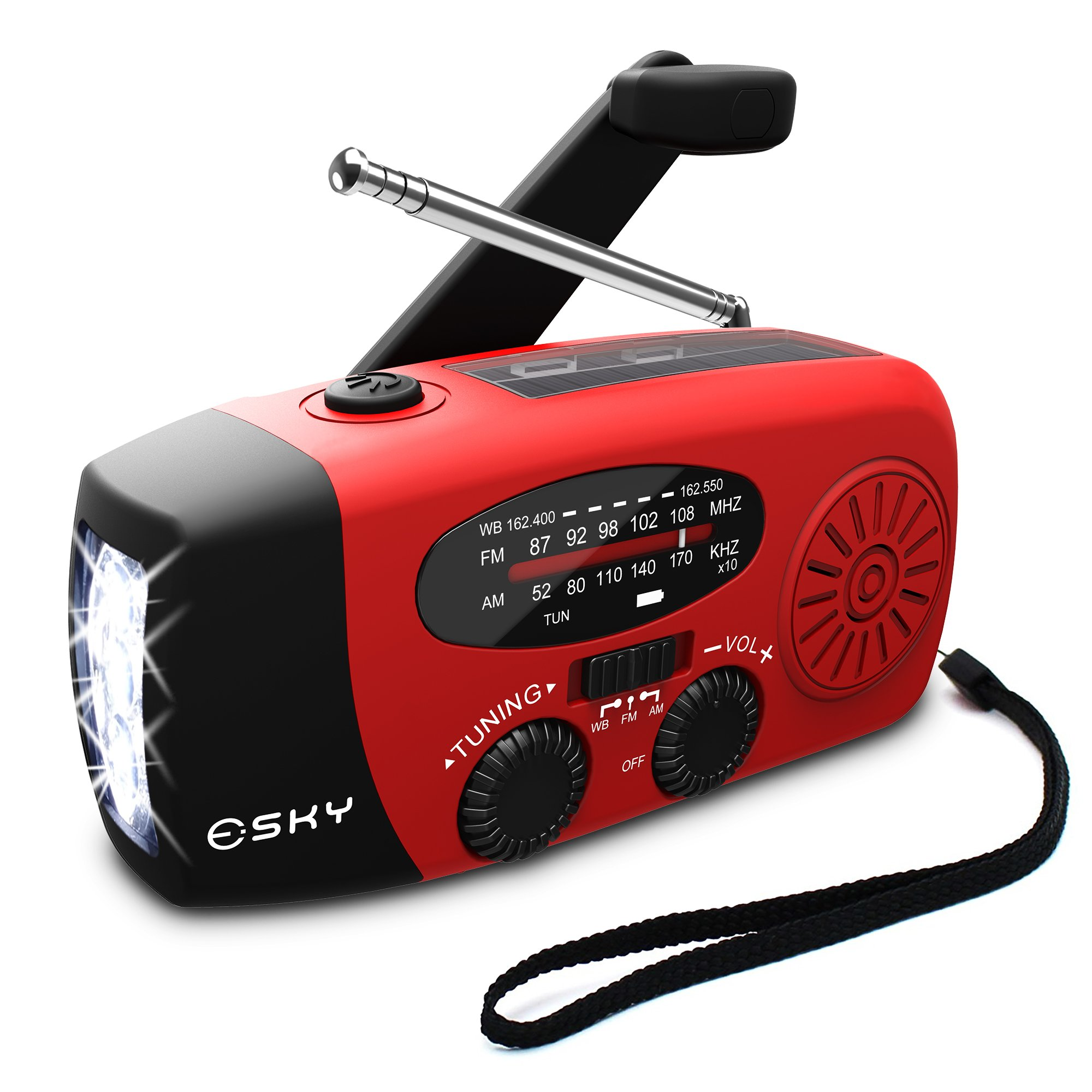 [2018 Upgraded] Esky Portable Emergency Weather Radio Hand Crank Self Powered AM/FM/NOAA Solar Radios with 3 LED Flashlight 1000mAh Power Bank Phone Charger (Red) by Esky